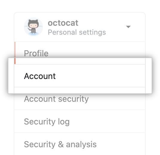 Opção do menu configurações da conta