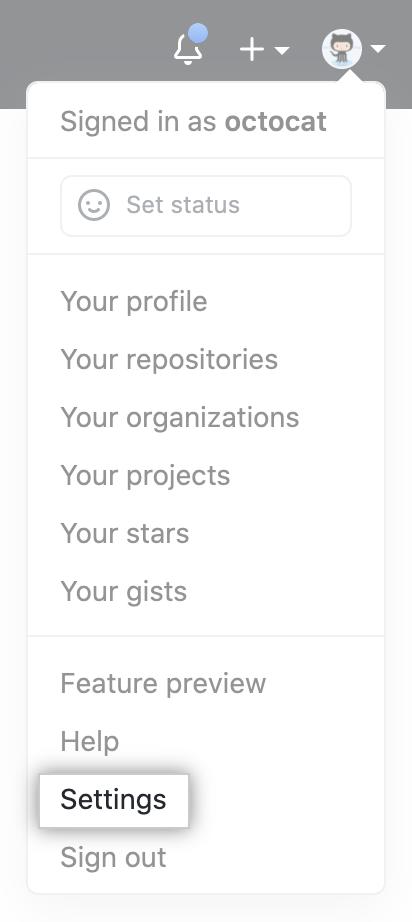 Ícone Settings (Configurações) na barra de usuário