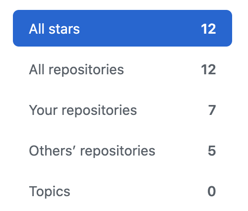 Filter stars by topic