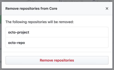 Modalfeld mit einer Liste der Repositorys, auf die das Team nicht mehr zugreifen kann