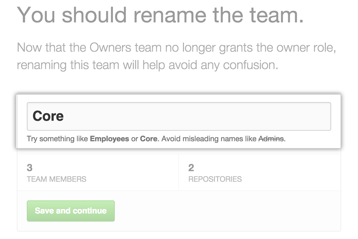 在团队名称字段将所有者团队重命名为核心