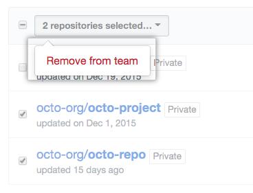 Dropdownmenü mit Option zum Entfernen eines Repositorys von einem Team