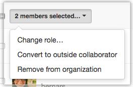 含有将成员转换为外部协作者选项的下拉菜单