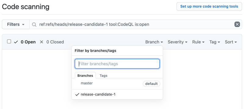 Choose a branch from the Branch drop-down menu