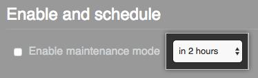 メンテナンス時間枠を 2 時間でスケジュール設定するオプションが選択されたドロップダウンメニュー