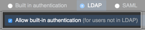 Select LDAP built-in authentication checkbox