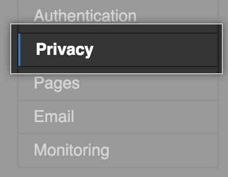 """Registerkarte """"Privacy"""" (Datenschutz) auf der Seitenleiste mit den Einstellungen"""