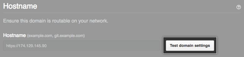 Test domain settings button