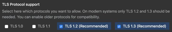 Optionsfelder mit Optionen zur Auswahl von TLS-Protokollen