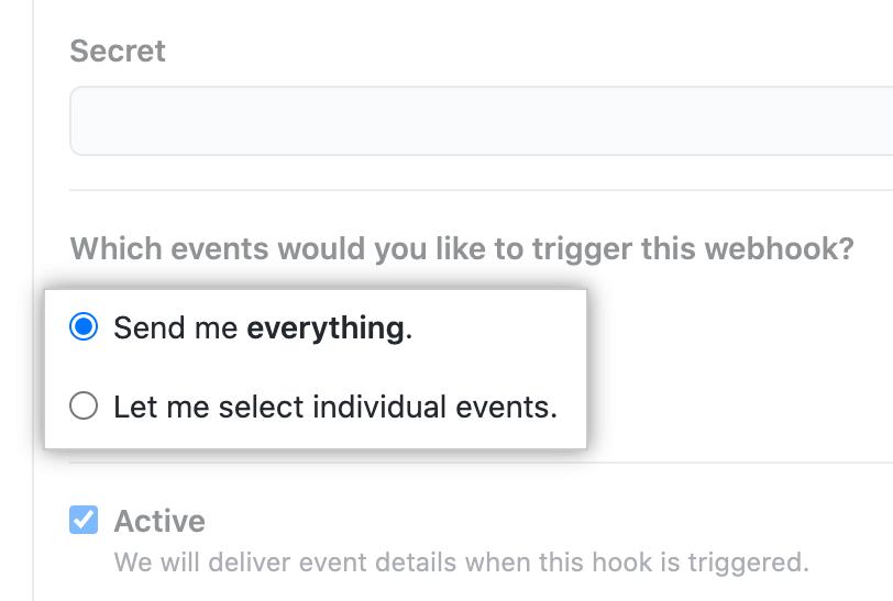 包含用于为每个事件或选定事件接收有效负载的选项的单选按钮