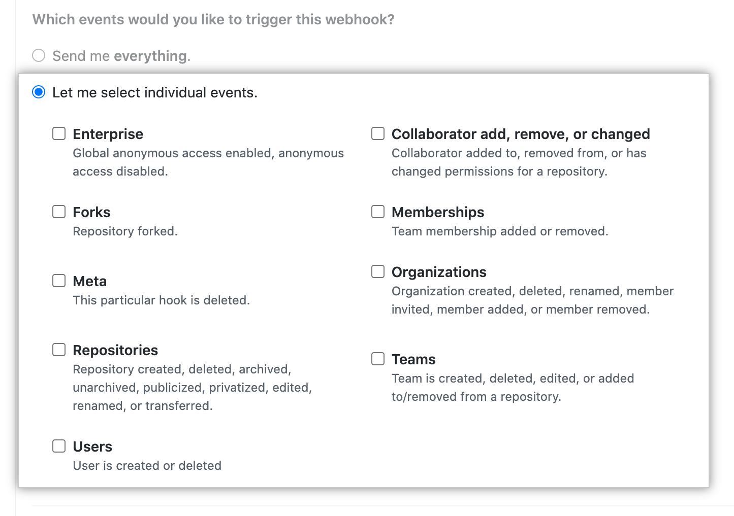 Checkboxes for individual global webhook events