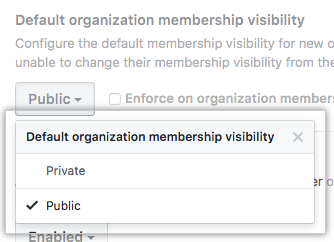 Menu suspenso com a opção de configurar a visibilidade padrão dos integrantes da organização como pública ou privada