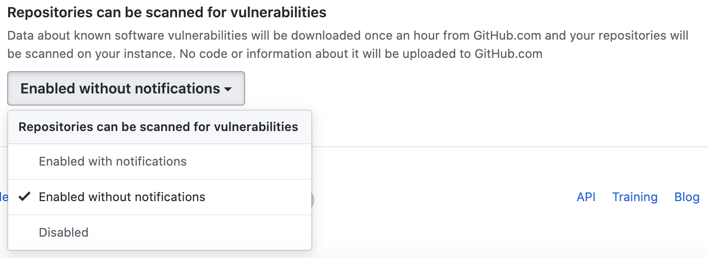 Drop-down menu to enable scanning repositories for vulnerabilities