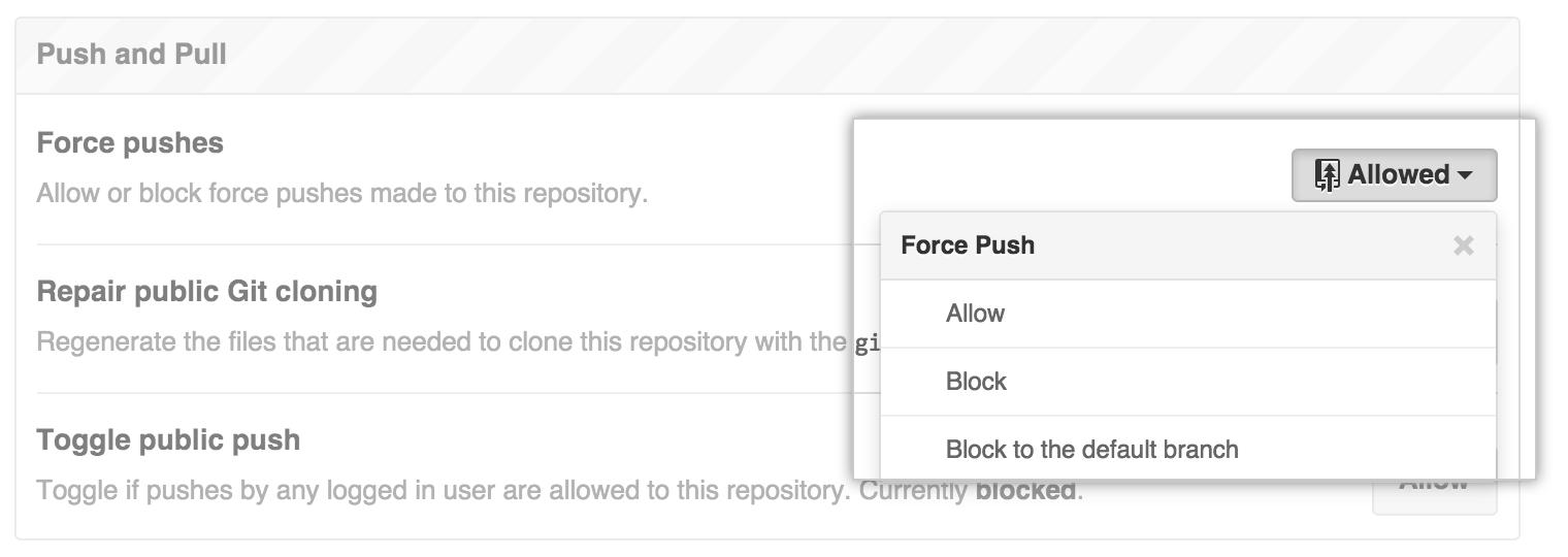 Erzwungene Push-Vorgänge blockieren