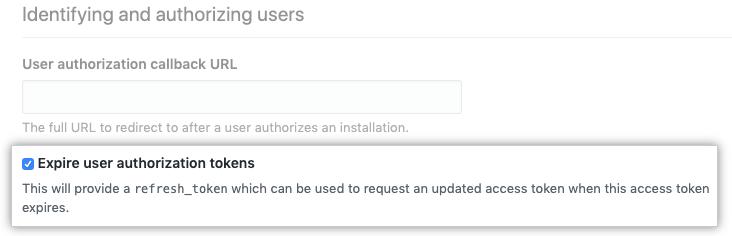 Opción para unirse a los tokens de usuario con caducidad durante la configuración de las GitHub Apps