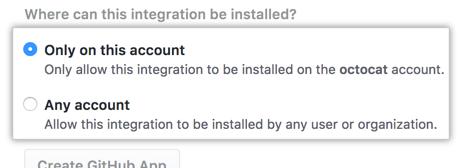 Opciones de instalación para tu GitHub App