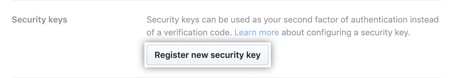 Registering a new security key