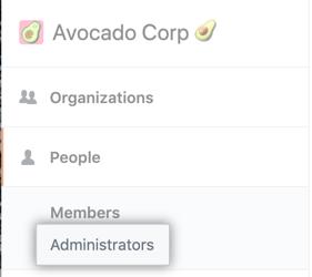 Pestaña Administrators (Administradores) en la barra lateral izquierda
