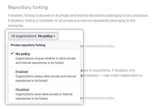 Dropdownmenü mit den Optionen für die Richtlinie für das Repository-Forking