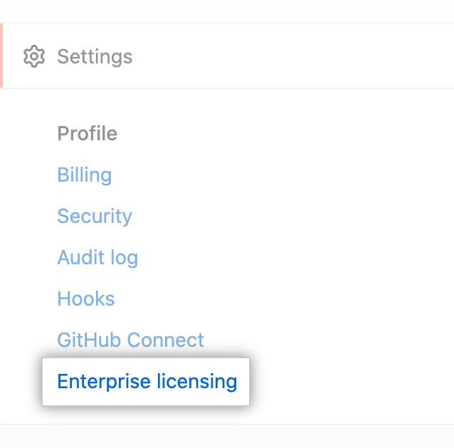 """Enterprise licensing"" tab in the enterprise account settings sidebar"