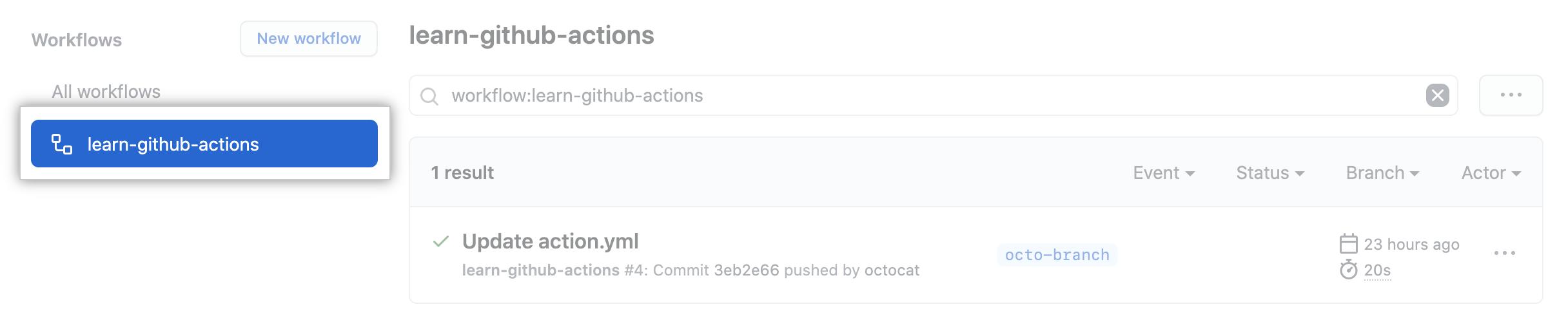 Screenshot of workflow results