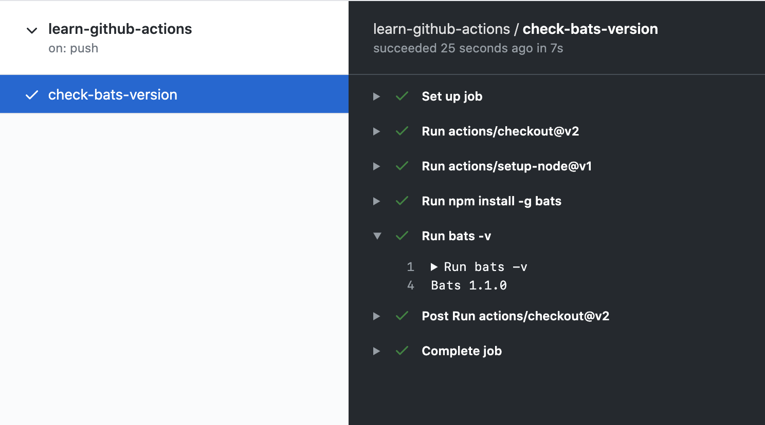 Screenshot of workflow run details
