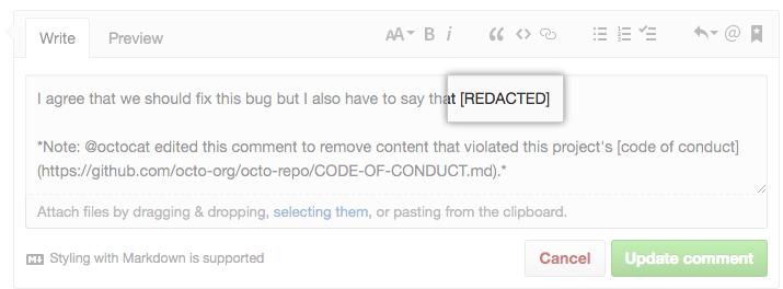 Janela de comentário com conteúdo redacted (suprimido)