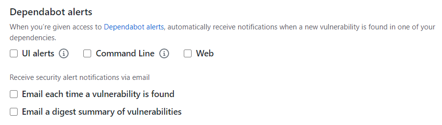 Dependabot alerts options