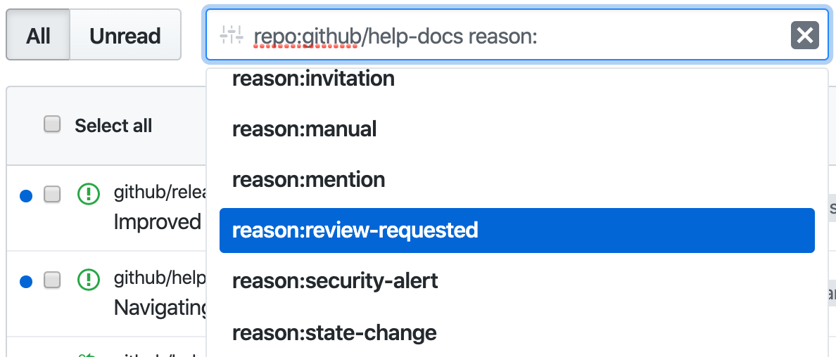 "Filtere Benachrichtigungen nach ""Review Requested"" (Review angefordert)"