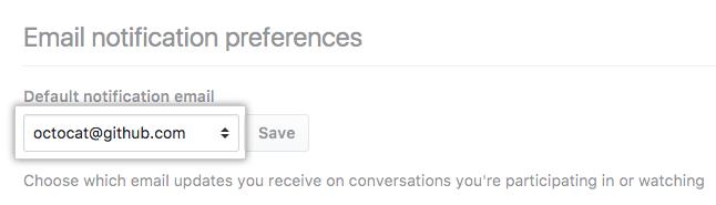 Menu suspenso de endereço de e-mail padrão de notificação