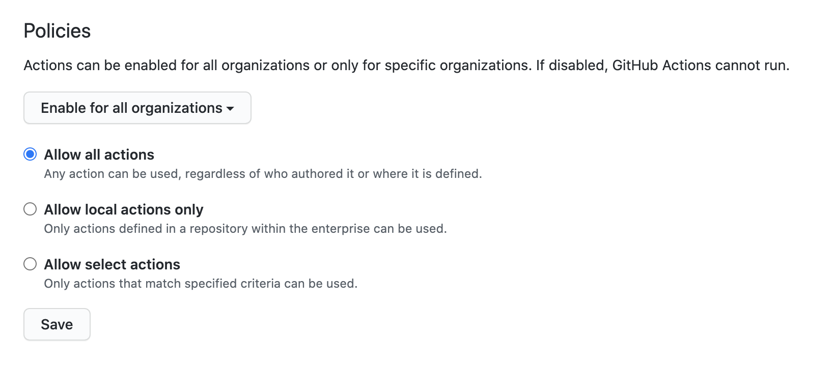 Enable, disable, or limits actions for this enterprise account