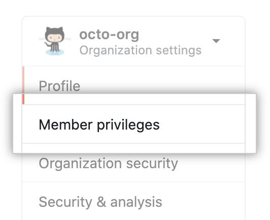 Opción de privilegios de los miembros en la configuración de la organización