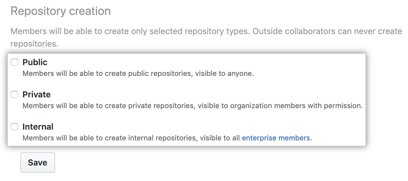 Opciones de creación de repositorio