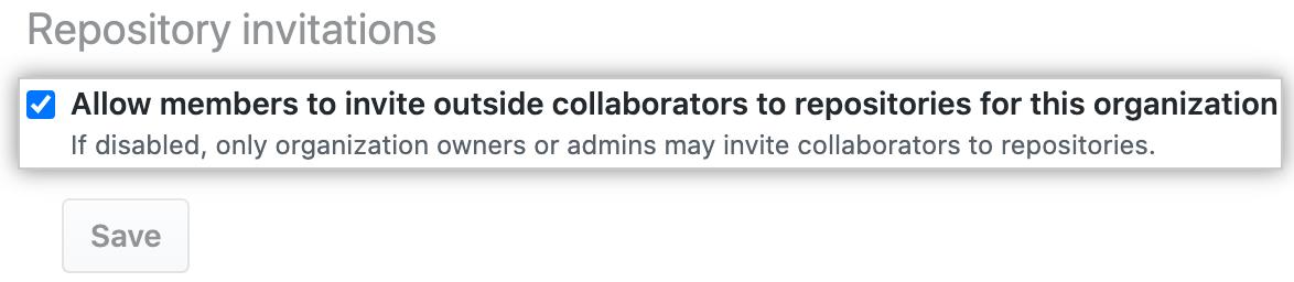 Casilla para permitir que los miembros inviten colaboradores externos a los repositorios de la organización