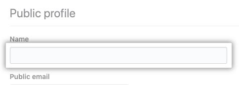 Name field in profile settings