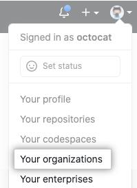 Tus organizaciones en el menú de perfil