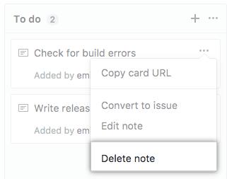 Delete note button
