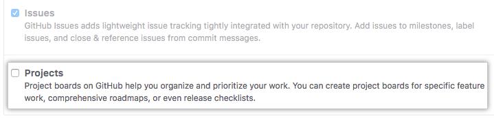 Caixa de seleção Remove Projects (Remover projetos)