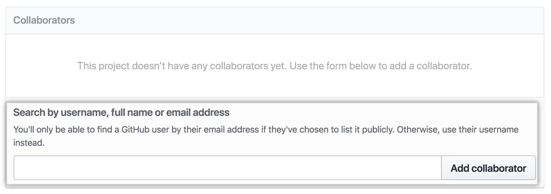 在搜索字段中输入了 Octocat 用户名的协作者部分