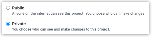 Botões de opção para escolher a visibilidade do quadro do projeto