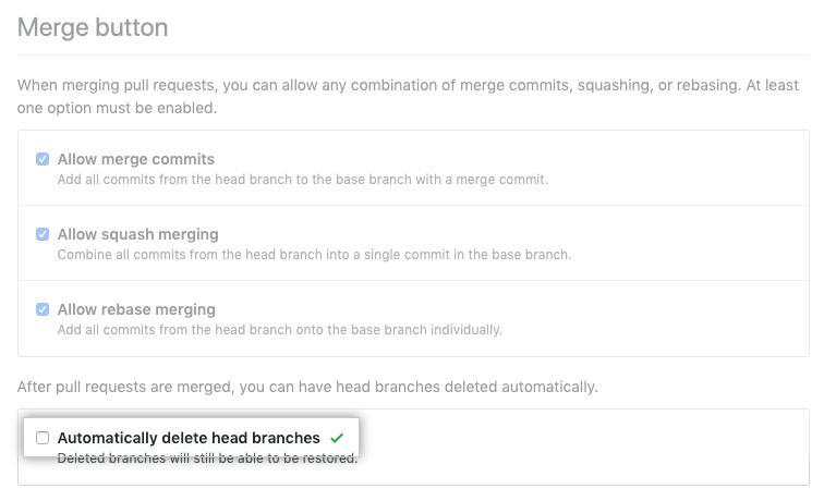 Caixa de seleção para habilitar ou desabilitar a exclusão automática de branches