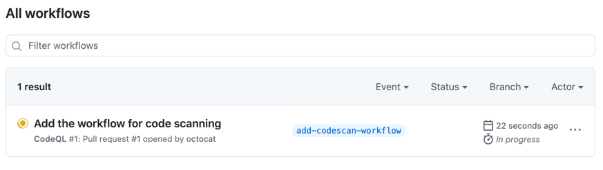 Actions list showing code scanning workflow
