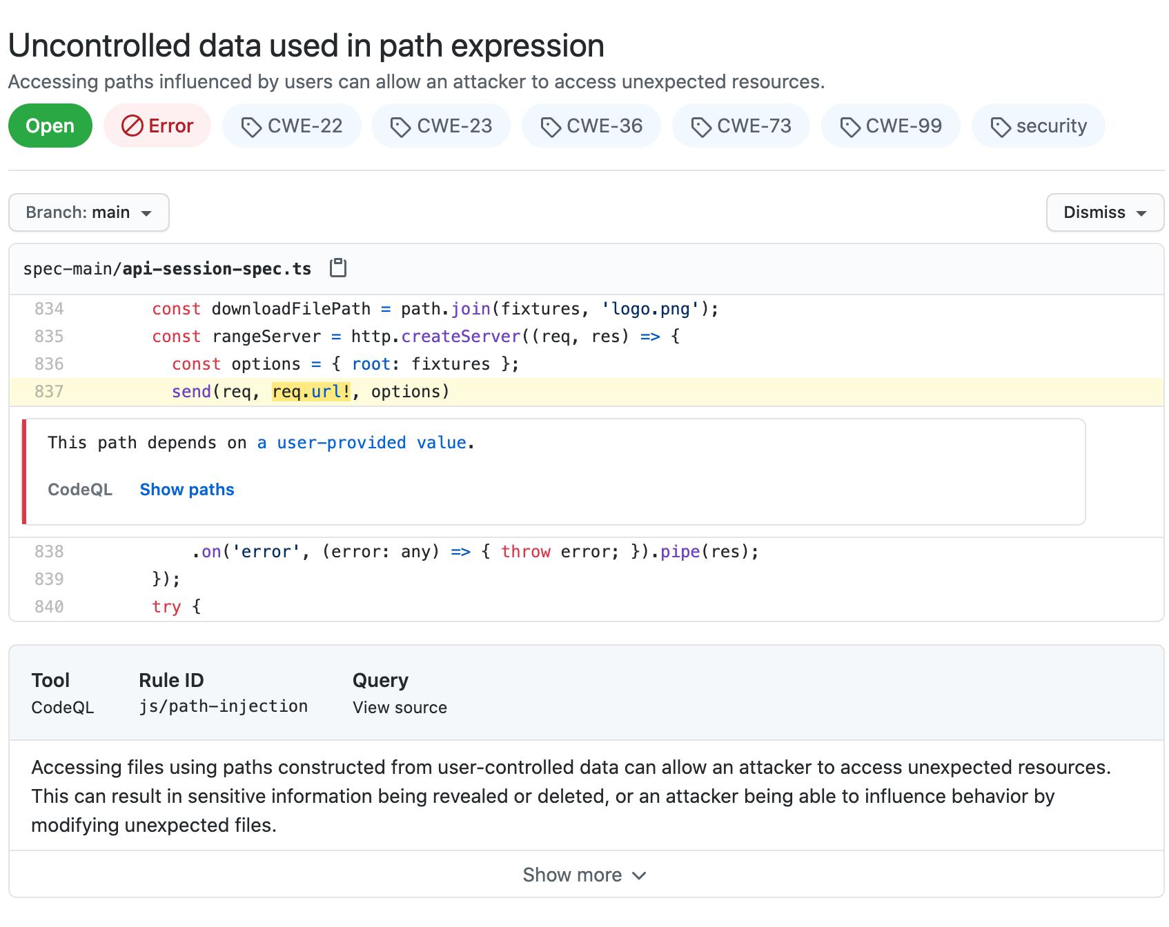 code scanning からのアラートの例