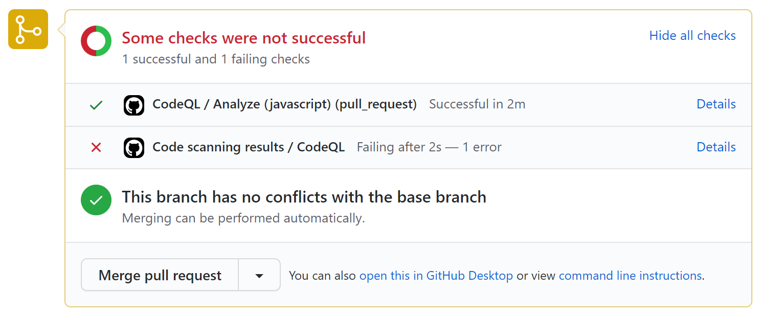 Failed code scanning check on a pull request