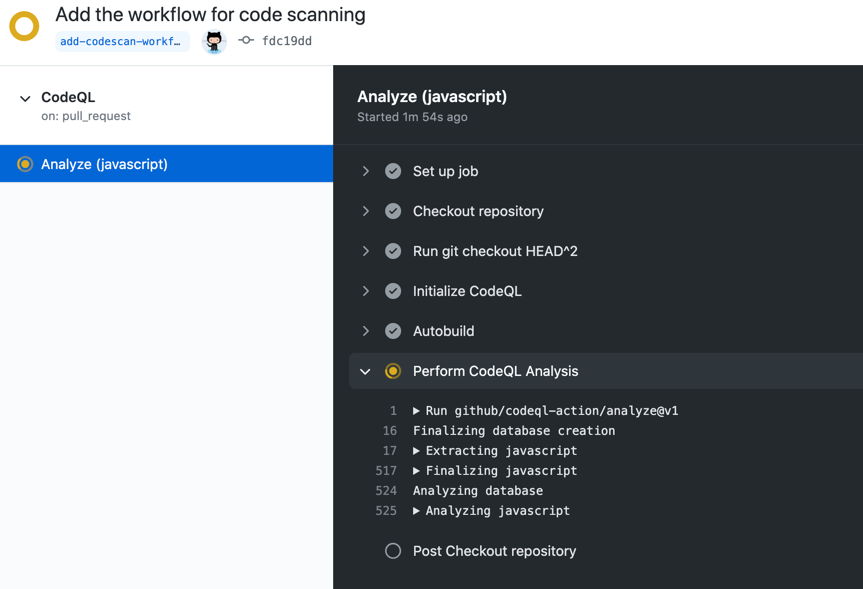 Log output from the code scanning workflow