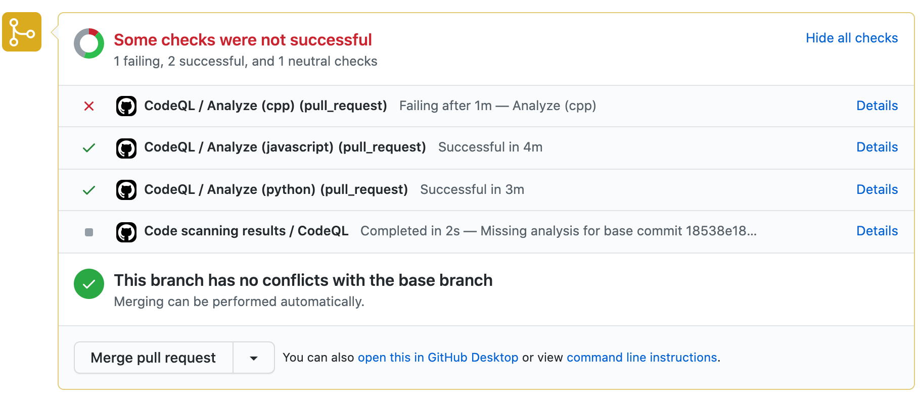 code scanning pull request checks