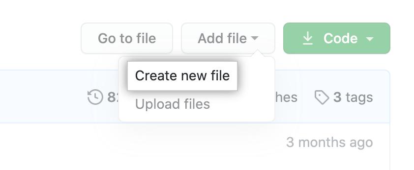 """""""Criar novo arquivo"""" no menu suspenso """"Adicionar arquivo"""""""