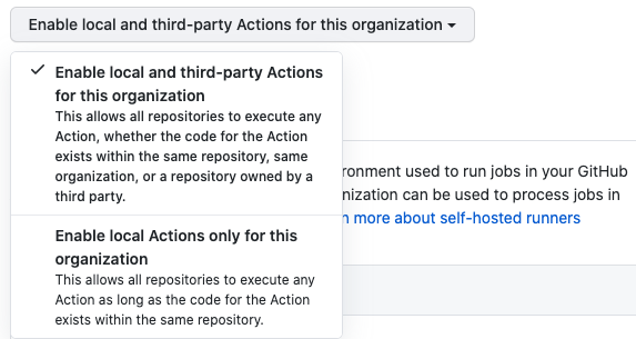 Enable, disable, or limit actions for this organization