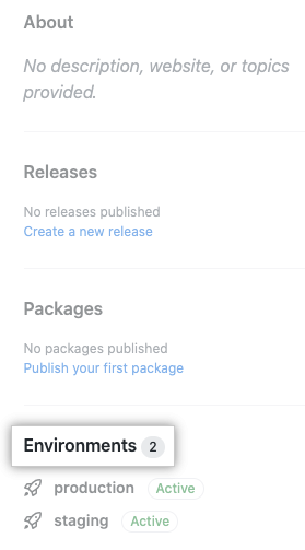 Environments on the right of the repository page