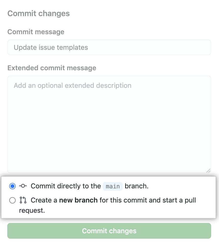 Commit do modelo de problema com opção para principal ou abrir pull request